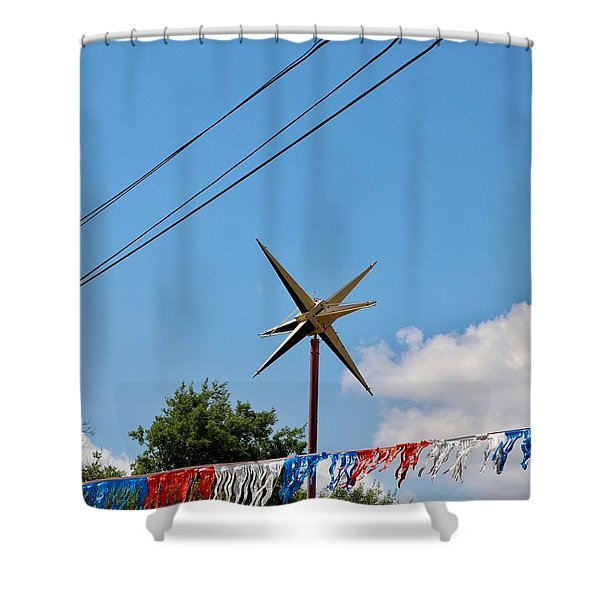 Metal Star In The Sky Shower Curtain