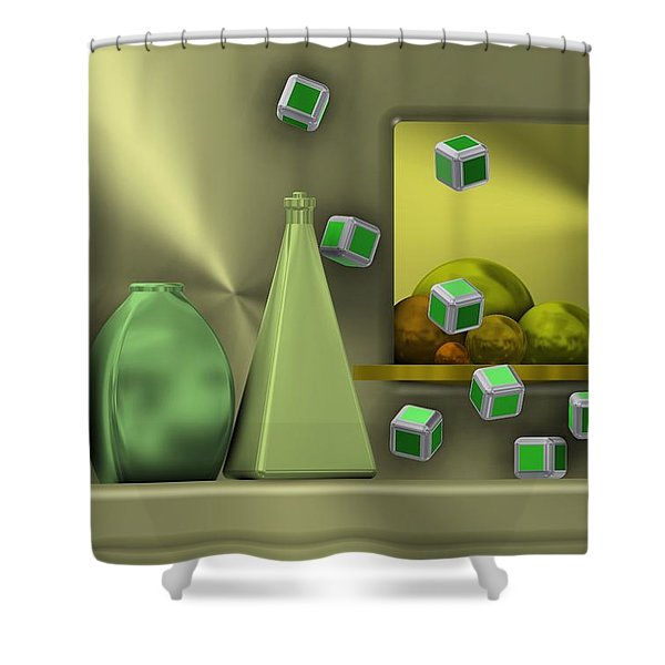 Metalic Still Life With Cubes Flying Shower Curtain