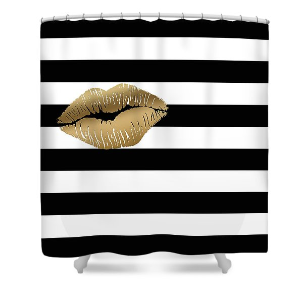 Metallic Gold Lips Black And White Stripes Shower Curtain