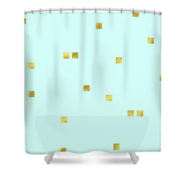 Metallic Square Confetti Print, Gold Squares On Aqua Shower Curtain