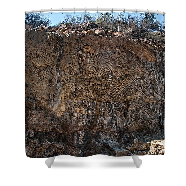 Metamorphic Geologic Wall In Kings Canyon Giant Sequoia National Monument Sequoia National Forest Shower Curtain