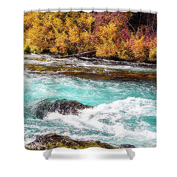Shower Curtain featuring the photograph Metolius River by David Millenheft
