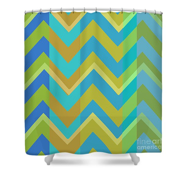 Metro Retro Zig Zag Cool Tones Shower Curtain