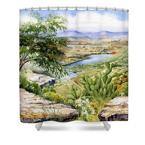 Mexican Landscape Watercolor Shower Curtain