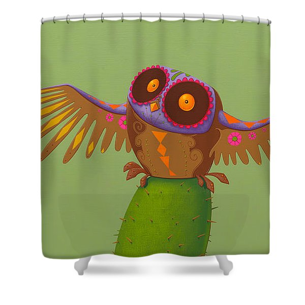 Mexican Owl Shower Curtain