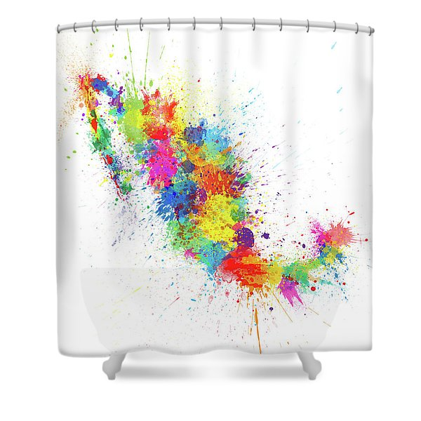 Mexico Paint Splashes Map Shower Curtain