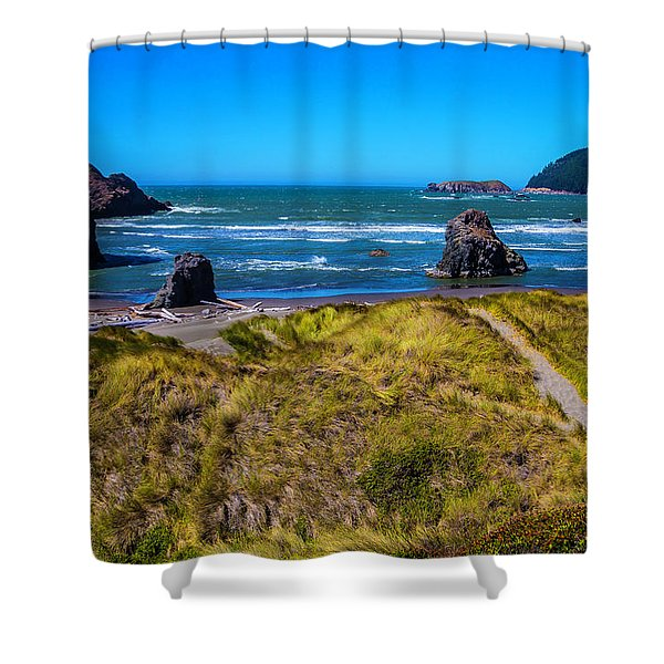 Meyers Beach Coastline Shower Curtain