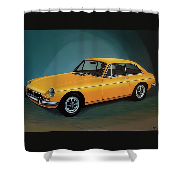 Mgb Gt 1966 Painting  Shower Curtain