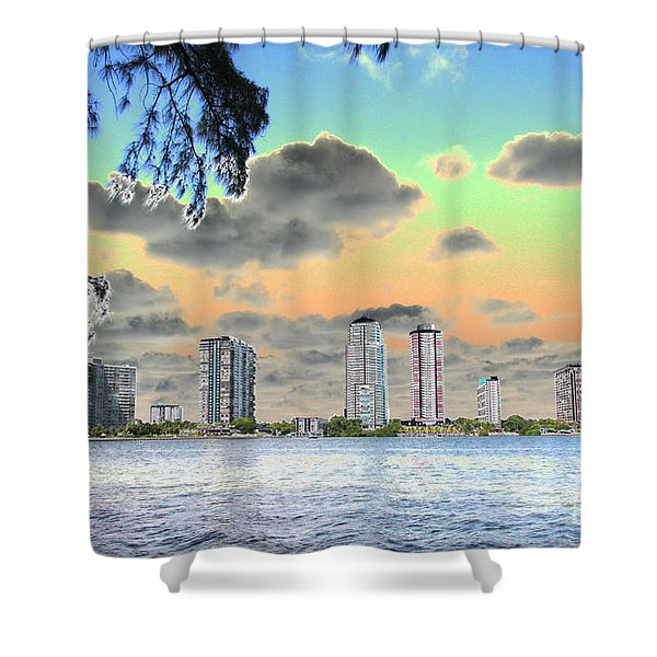 Miami Skyline Abstract Shower Curtain