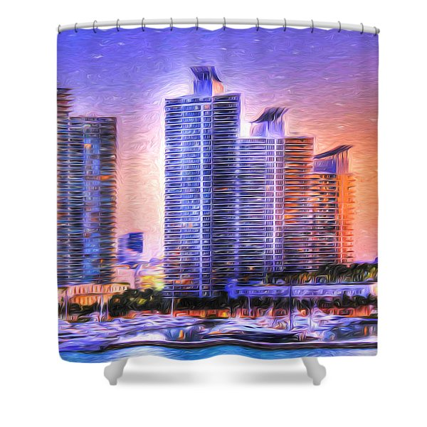 Miami Skyline Sunrise Shower Curtain