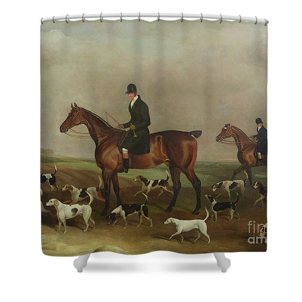 Michael Beverley With His Whipper In And Harriers Shower Curtain