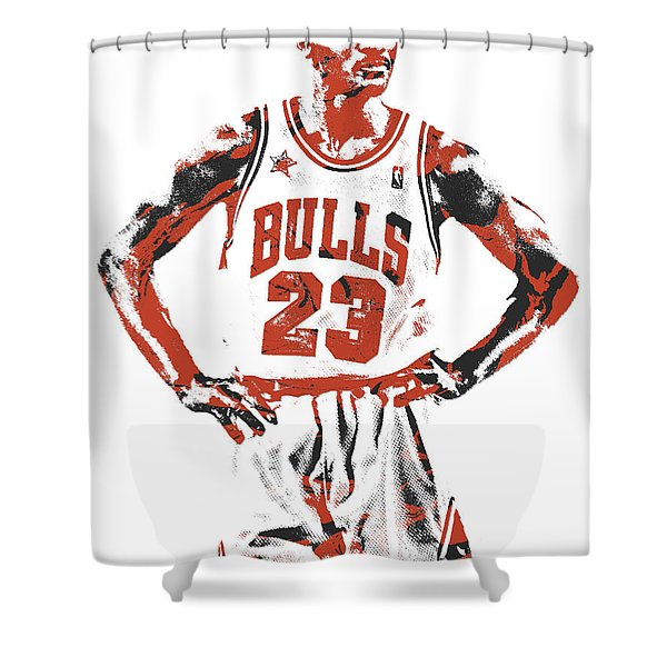 Michael Jordan Chicago Bulls Pixel Art 13 Shower Curtain