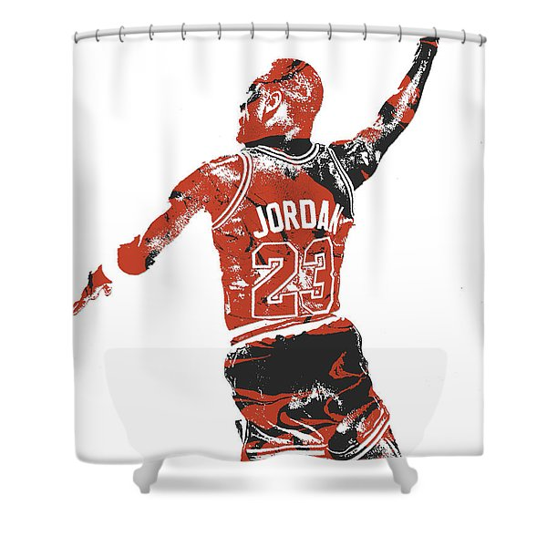 Michael Jordan Chicago Bulls Pixel Art 16 Shower Curtain