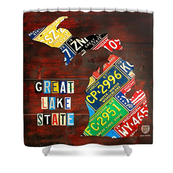 Michigan License Plate Map Shower Curtain