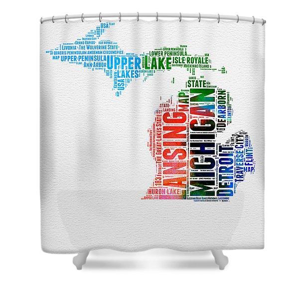 Michigan Watercolor Word Cloud Shower Curtain