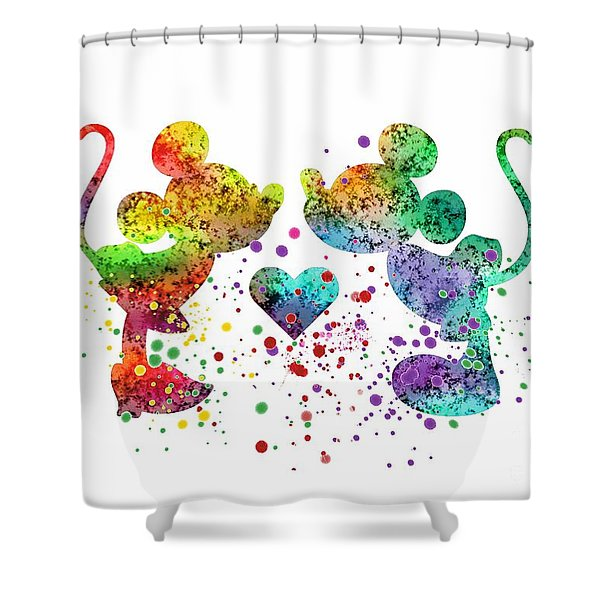 Mickey And Minnie 2 Watercolor Print Shower Curtain