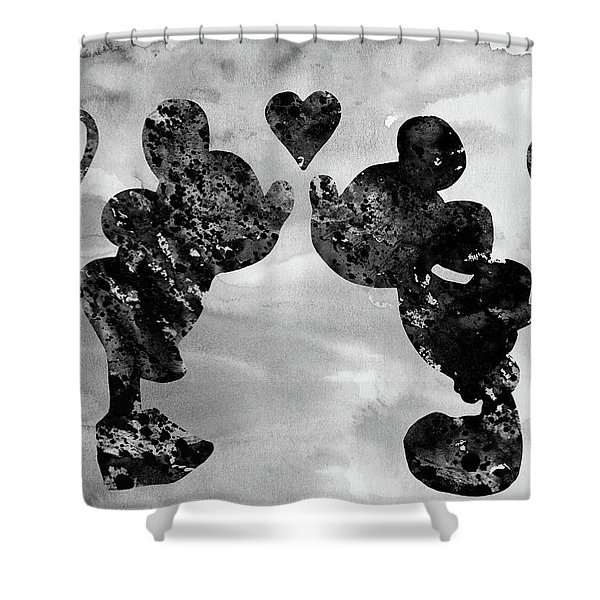 Mickey And Minnie Mouse-black Shower Curtain