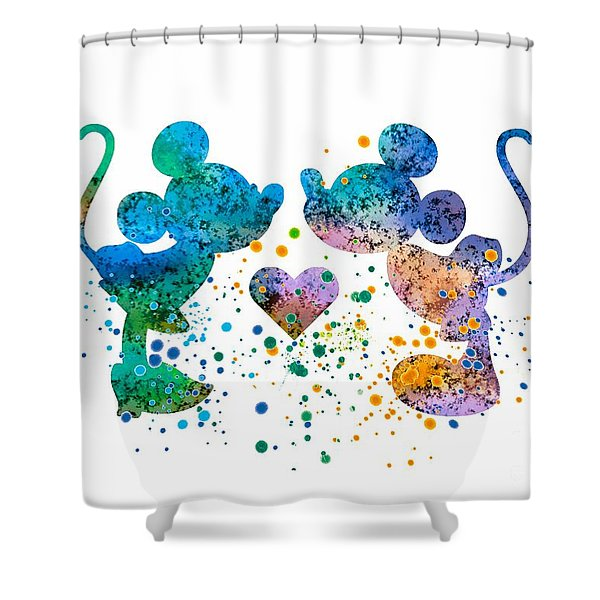 Mickey And Minnie Watercolor Print Shower Curtain