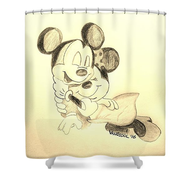 Mickey Minnie Cuddle Buddies - Sepia Shower Curtain