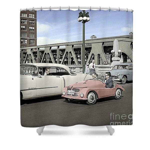Micro Car And Cadillac Shower Curtain