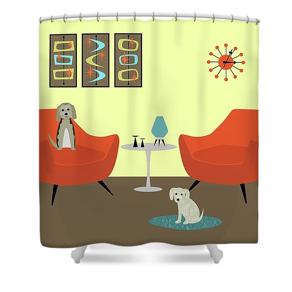 Mid Century Modern Dogs 1 Shower Curtain