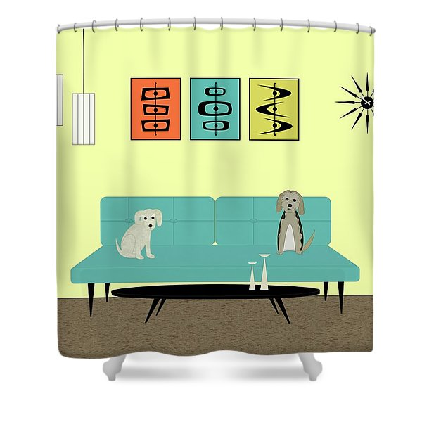 Mid Century Modern Dogs 2 Shower Curtain