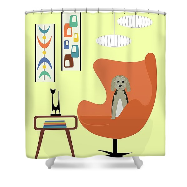 Mid Century Modern Dogs 3 Shower Curtain