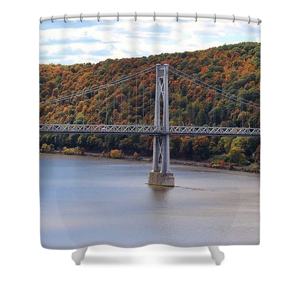 Mid Hudson Bridge In Autumn Shower Curtain