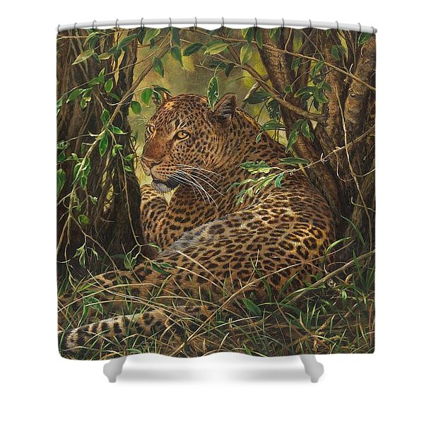 Shower Curtain featuring the painting Midday Siesta by Alan M Hunt