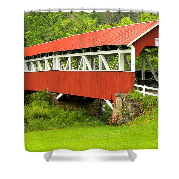 Middle Creek Township Covered Bridge Shower Curtain