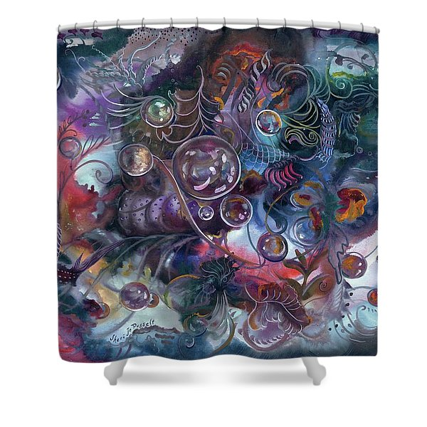 Midnight Dancing Bubbles Shower Curtain