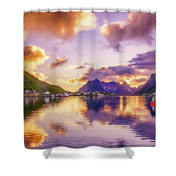 Midnight Sun Reflections In Reine Shower Curtain