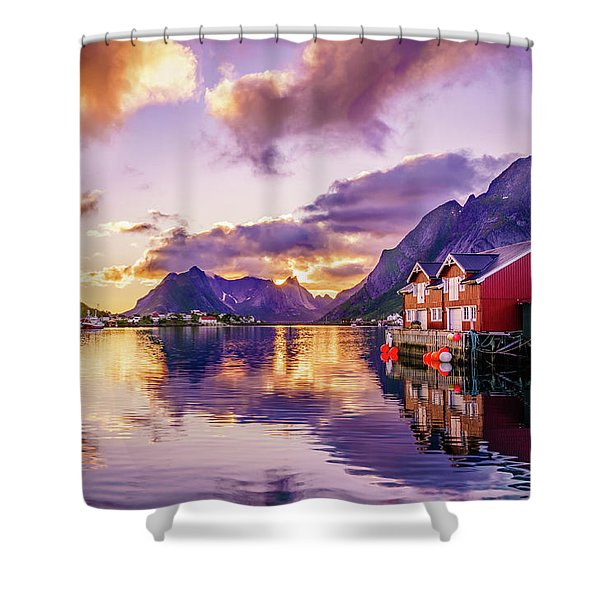 Midnight Sun Reflections In Reine Shower Curtain