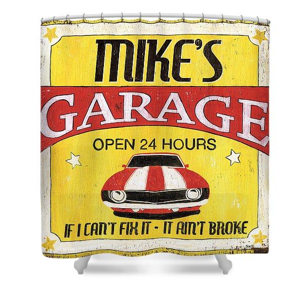 Mike's Garage Shower Curtain
