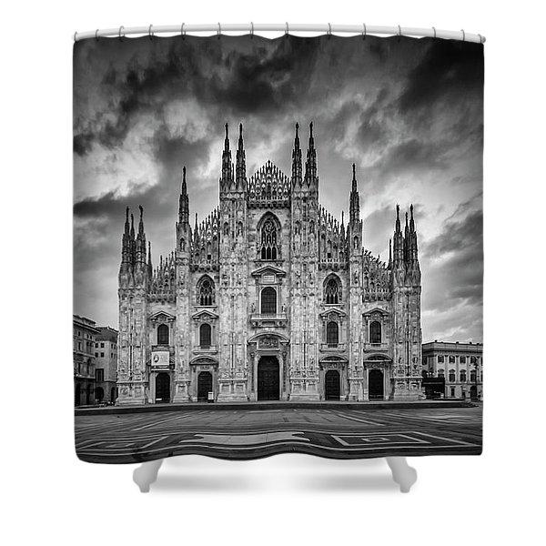 Milan Cathedral Santa Maria Nascente Monochrome Shower Curtain
