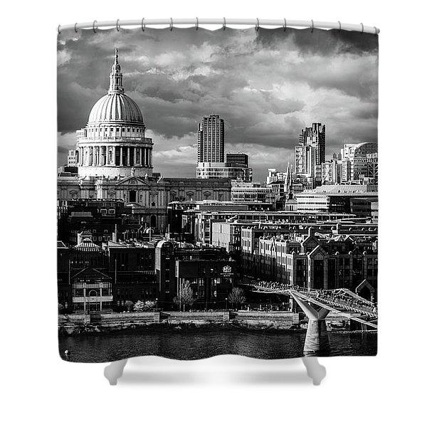 Milennium Bridge And St. Pauls, London Shower Curtain