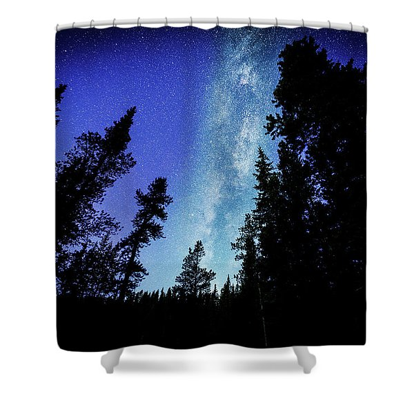 Milky Way Among The Trees Shower Curtain