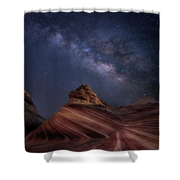 Milky Way And The Wave Shower Curtain