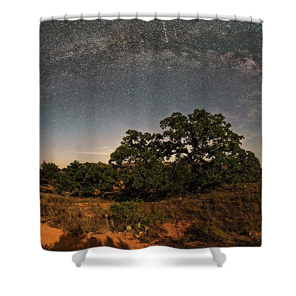 Milky Way Arch Over Enchanted Rock State Natural Area - Fredericksburg Texas Hill Country Shower Curtain