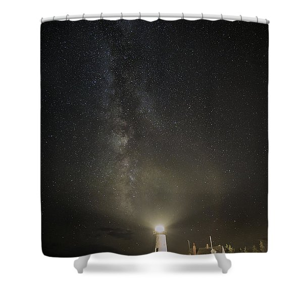 Milky Way At Pemaquid Light Shower Curtain