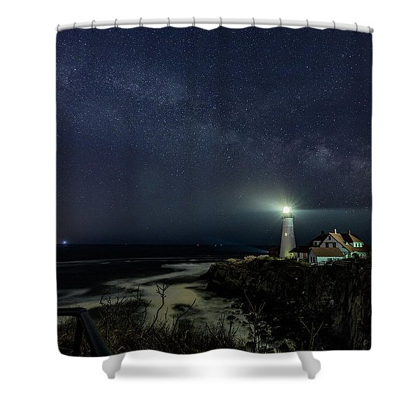 Milky Way At Portland Head Light Shower Curtain
