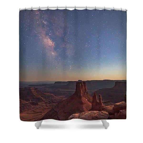 Milky Way At Twilight - Marlboro Point Shower Curtain