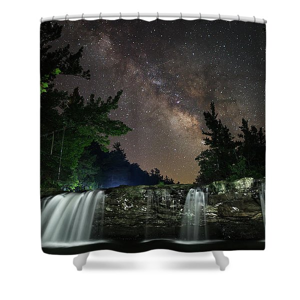 Milky Way Over Falling Waters Shower Curtain