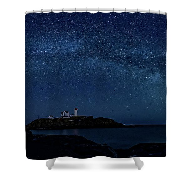 Milky Way Over Nubble Shower Curtain
