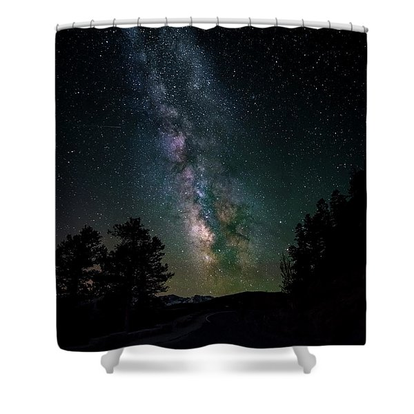 Milky Way Over Rocky Mountains Shower Curtain