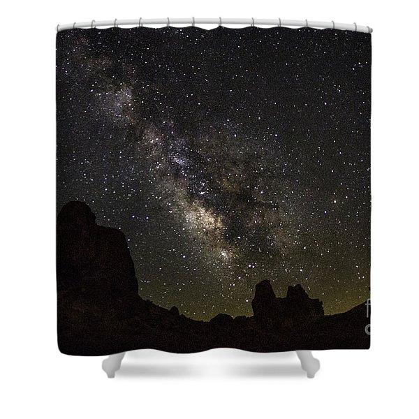 Milky Way Over Trona Pinnacles Shower Curtain