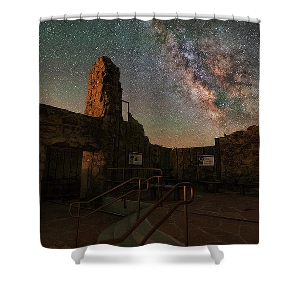 Milky Way Steps At The Crest House Ruins Shower Curtain