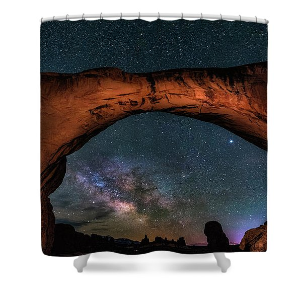 Milky Way Under The Arch Shower Curtain