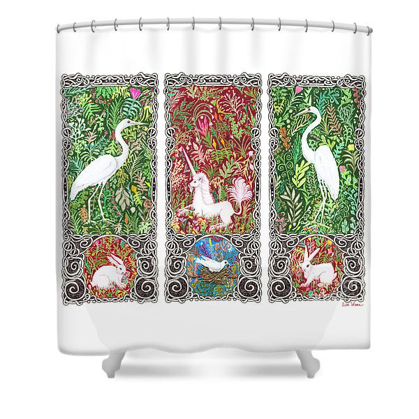 Millefleurs Triptych With Unicorn, Cranes, Rabbits And Dove Shower Curtain