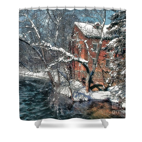 Mill House In Winter Shower Curtain